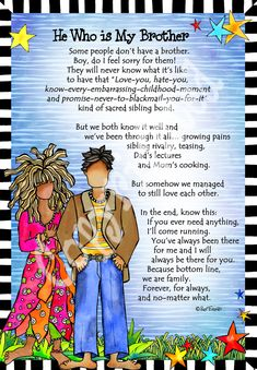 Brother – Gifty Art Bruder – 8 x 10 Gifty Art Prayer For My Brother, Little Brother Quotes, Brother Birthday Quotes, Brother And Sister Love, Happy Birthday Brother, Mom Quotes, Cute Quotes, Suzy, Pomes