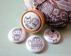 Interchangeable Necklace - 2012 NEW BUTTONS - Pick any 4 buttons. $30.00, via Etsy.