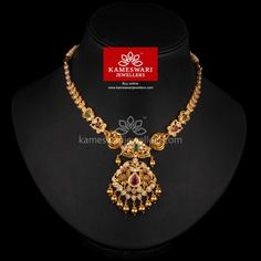 Buy Necklaces Online | CZ Pachi With Nakashi Touch Short Necklace from Kameswari Jewellers###We ship across #India and #USA Call/Whatsapp us on +91-7799217999 ..