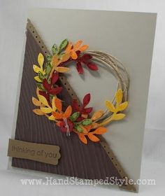 Bird punch- wood grain embossing folder- wreath card- Stampin' Up! Thanksgiving Cards, Holiday Cards, Christmas Cards, Making Greeting Cards, Greeting Cards Handmade, Handmade Fall Cards, Leaf Cards, Halloween Cards, Cute Cards