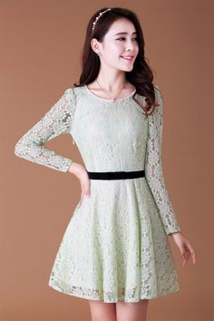 #Lace #dress long sleeve YRB0029