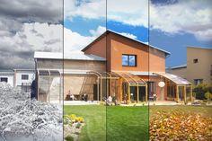 Vizualizace zastřešení terasy systémem CORSO ve všech ročních obdobích.