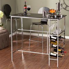 Upton Home Libertine Black/ Chrome Wine Storage Pub Table