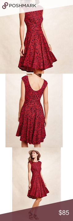 """Anthropologie Moulinette Soeurs floral dress Anthropologie Moulinette Soeurs floral dress. Gorgeous scoop back dress. Waist band creates a fit-and-flare style. Sleeveless. Orange and blue floral print. 95% rayon, 5% spandex. Underarm to underarm 17"""", length 37"""". Anthropologie Dresses"""