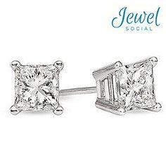 1ctw Princess Cut Diamond Stud Earrings in 14kt White Gold I'm really wanting diamond earrings hint hint