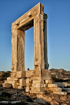 Greece, Portara the Apollo Temple's entrance on Naxos island, Cyclades Mykonos, Santorini, Paros, Naxos Greece, Beautiful Places To Visit, Cool Places To Visit, Places To Go, Ancient Ruins, Ancient Greece