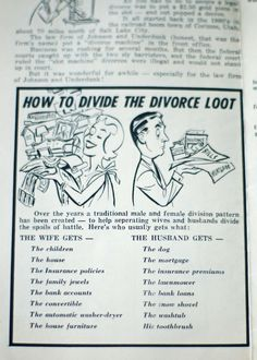 Vintage Divorce Funny paper... Still true today