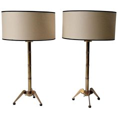 """Pair of 1950s """"Bamboo"""" Table Lamps by Maison Arlus 1"""