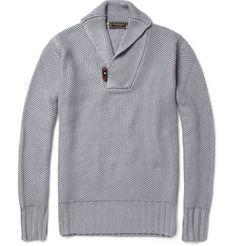 CanaliKnitted Shawl Collar Silk Sweater|MR PORTER