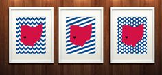 Dayton Ohio State Set of Three Giclée Prints  8x10  by PaintedPost, $37.00 #paintedpoststudio - University of Dayton - Dayton Flyers- What a great and memorable gift for graduation, sorority, hostess, and best friend gifts! Also perfect for dorm decor! :)