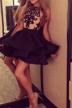 Short prom dress, cute black  chiffon + lace appliques prom dress