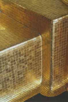 That would be gold leaf mosaic tiles for him or silver leaf mosaic tiles for her? Gold Everything, Tuile, Tadelakt, Shades Of Gold, Kelly Wearstler, Gold Leaf, Gold Gold, Gold Rush, Mosaic Tiles