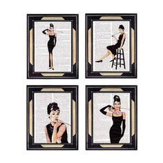 Dictionary print AUDREY HEPBURN 4 art prints on dictionary page Breakfast at Tiffany's dictionary art print book page art print