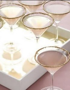 Jazz up any cocktail with martini glasses dipped in edible gold glitter!