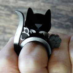 Stacking black acrylic glass cat engagement rings. Wear it four ways! Adorable kitty gift for your favorite crazy cat lady. Laser engraved. on Etsy, $16.95