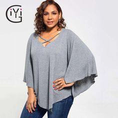#SavingsOnFashion 43.26     Tag a friend who would love this!     FREE Shipping Worldwide     Buy one here---> https://www.savingsonfashion.com/plus-size-5xl-autumn-2017-loose-poncho-asymmetrical-top-women-clothes-grey-long-batwing-sleeve-blouse-shirt-big-size-blusas/