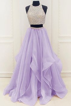 prom dresses,New Arrival Prom Dress,Modest Organza Prom Dresses,2017 Stunning Sequins prom dress,Beaded Top Ruffles Two Piece Prom Dress 2017,prom dress