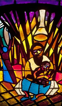 """The Navity stained glass window designed by artist Jean Lacy in the Sanctuary of the St. Luke """"Community"""" United Methodist church in Dallas on July 31, 2012."""