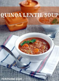 Quinoa Lentil Soup from Super Seeds: an easy-to-make, hearty and flavorful #vegan #recipe (#glutenfree, too!) | rickiheller.com