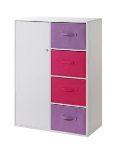 """Kids Storage Cabinet with Baskets (White / Pink) (48""""H x 33.75""""W x 16""""D) for only $186.86 You save: $137.14 (42%)"""
