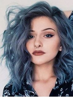 Mid-Length Loose Wavy Side Swept Fringes Synthetic Lace Front Wigs 14 Inches - Everything Hair - Shoulder Length Hair Balayage, Shoulder Length Hair With Bangs, Wavy Mid Length Hair, Hair Color Blue, Cool Hair Color, Purple Hair, Short Blue Hair, Short Dyed Hair, Pastel Blue Hair