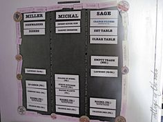 DIY Chore Boards with magnetic removable strips of chores