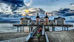 Seebrücke Sellin by phosmas70r  sky sea sunset water beach travel clouds ocean vacation tourism architecture bridge building evening