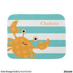 Cute Orange Crab Baby Burp Cloth. Price $14.95 per burp cloth