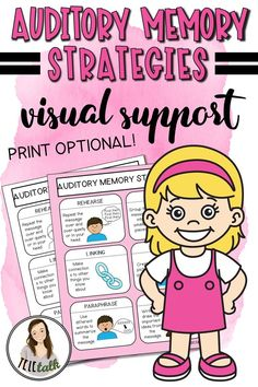 Teach your students to utilize these 6 different auditory memory strategies to make them more independent with auditory tasks. Printing is optional, as it comes with a color and black/white version! Auditory Processing Activities, Auditory Processing Disorder, Speech Therapy Activities, Language Activities, Deaf Education Activities, Auditory Learning, Speech Language Therapy, Speech Language Pathology, Speech And Language