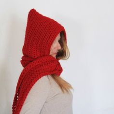 Red hooded scarf, open ends scarf with hood, red scoodie, long hooded scarf, Calypso Long Red Fashion, Winter Fashion, Red Photography, Hooded Scarf, Dress Up Costumes, Red Jewelry, Red Aesthetic, Wool Yarn, Warm And Cozy