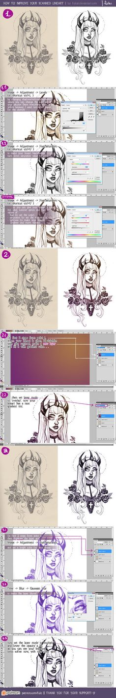 here I showed you my ways to edit scanned linearts   software: photoshop CS5 _ _ _   see more at my Patreon