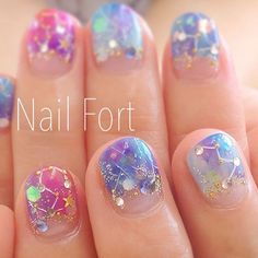 constellations nail art manicure stars / IG & YT Fingers and tosies con Nail Swag, Asian Nails, Kawaii Nail Art, Confetti Nails, Korean Nail Art, Japanese Nail Art, Dream Nails, Cool Nail Designs, Gorgeous Nails