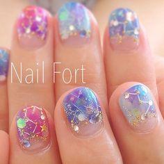 constellations nail art manicure stars / IG & YT @heybabyfayce