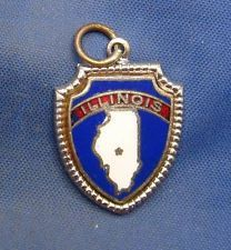 Vintage Sterling Silver & Enamel ILLINOIS State Map Shield Charm marked STERLING