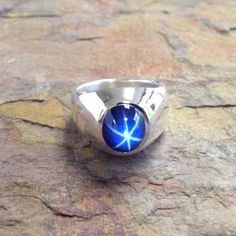 Classic Men's Heavy Weight Oval Blue Star by dougpetersonjewelers Mens Gemstone Rings, Sterling Silver Mens Rings, Star Sapphire Ring, Style Classique, Titanium Rings, Classic Man, Gypsy Style, Fashion Rings, Rings For Men