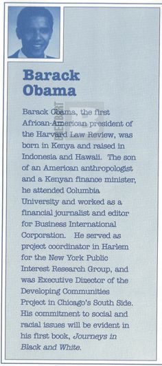 """The Vetting - Exclusive - Obama's Literary Agent in 1991 Booklet: 'Born in Kenya and raised in Indonesia and Hawaii'. Promotional booklet produced in 1991 by Barack Obama's then-literary agency, Acton & Dystel, which touts Obama as """"born in Kenya and raised in Indonesia and Hawaii."""""""