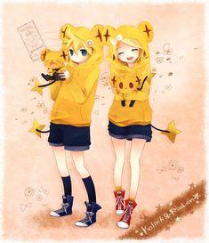Len and Rin + Pokemon Len Y Rin, Kagamine Rin And Len, Kaito, Hatsune Miku, Anime Crossover, Manga Anime, Anime Boys, Chibi, Pikachu