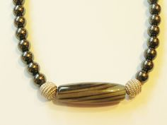 Haematite & grey agate gemstone necklace, sterling silver clasp, 16""