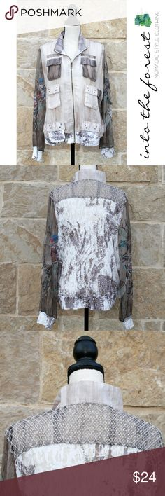 """Vintage by Jack & Ginger Sheer Natural Jacket XL Such a unique cute jacket! Excellent condition with light wear. I love all the different aspects of this jacket. 7 Pockets on the front and one on the sleeve. Front is mainly lined. Sleeves are sheer. Back is like a ribbed cotton along with the bottom of the jacket and the sleeves. ● Size XL:  Length 24"""", Armpit to Armpit 23"""" zipped, Sleeve Length 25"""".       Refer to the """"Meet Mandy"""" picture to compare your size to hers. ● 83% Polyester, 17%…"""