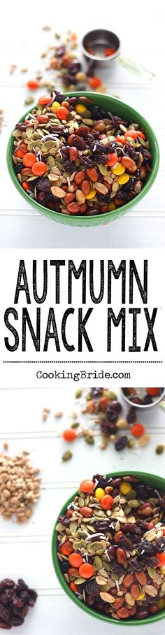 This easy-to-make snack mix contains roasted, shelled pumpkin seeds, sunflower seeds, raisins, coconut, peanuts, and Reese's pieces.