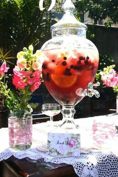 Gorgeous drink jar at a Tea Party!    See more party ideas at CatchMyParty.com!  #partyideas #teaparty