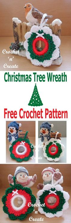 Crochet this pretty little Christmas tree wreath, at just over 3 inches in size, it is perfect to hang on your tree. Made in beautiful festive . Crochet Christmas Wreath, Crochet Wreath, Christmas Tree Wreath, Little Christmas Trees, Christmas Crochet Patterns, Crochet Ornaments, Holiday Crochet, Christmas Knitting, Crochet Crafts