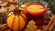 Photo about Winter drink with oranges and cloves. Image of sticks, advent, food - 15633324 Christmas Drinks, Merry Christmas, Christmas Clock, Christmas Mood, Christmas Candles, Christmas Recipes, Christmas Decorations, Energy Drinks, Cranberry Tea