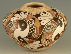 Pueblo Indian Pottery - look at the intracacy of this design. Native American Design, Native American Pottery, Native American Artists, American Indian Art, Native American Indians, Southwest Pottery, Southwest Art, Southwestern Rugs, Pottery Designs