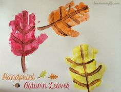 Handprint Autumn Leaves! #autumn #fall #handprint #handprintcrafts #kidscrafts #kbnmoms #pumpkin #leaves #crafts