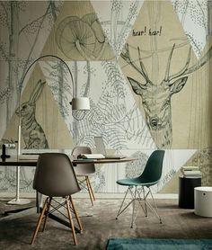 Escritório aconchegante, tons  pastéis e pontos mais contrastantes, finalizado pelo papel de parede triangulado com tema na natureza.