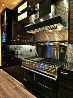 40 Inspiring Modern Luxury Kitchen Design Ideas - Modern Home Design Luxury Kitchens, Home Kitchens, Dream Kitchens, Dark Kitchens, Luxury Kitchen Design, Stainless Backsplash, Backsplash Tile, Backsplash Ideas, Rustic Backsplash