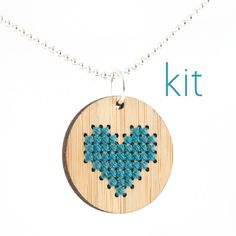 DIY Cross Stitch Necklace Kit Bamboo Heart by RedGateStitchery