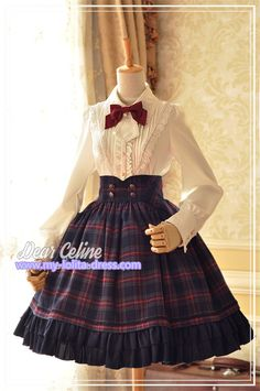 Winchester*** Vintage Tartan Lolita High Waist Fishbone Skirt for Autumn and Winter $75.99 - My Lolita Dress