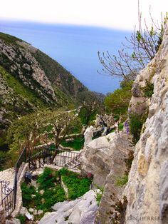 Eze, France -- A village that clings to the top of a rock outcropping 1,400 feet (420 meters) above the Mediterranean.